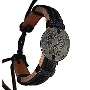 Pewter Coin Zodiac Adjustable Unisex Leather Bracelet with Metal Zodiac Sign Logo Charm Silver Tone (Pisces)