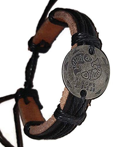 Pewter Black Leather Bracelet (Pewter Coin Zodiac Adjustable Unisex Leather Bracelet with Metal Zodiac Sign Logo Charm Silver Tone (Pisces))
