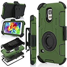 S5 Case, Galaxy S5 Holster case, J.west Hybrid Dual Layer Combo Armor Defender Protective Case With Kickstand + Belt Clip Holster For Samsung Galaxy S5 - Army Green