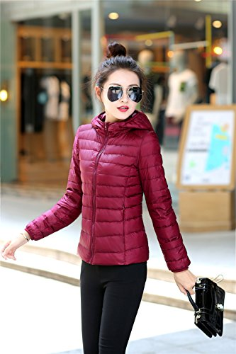 Quilted Red Down Down Packble Quibine Women's Wine Coat Jacket Hooded Ultralight 1wY1P0vq