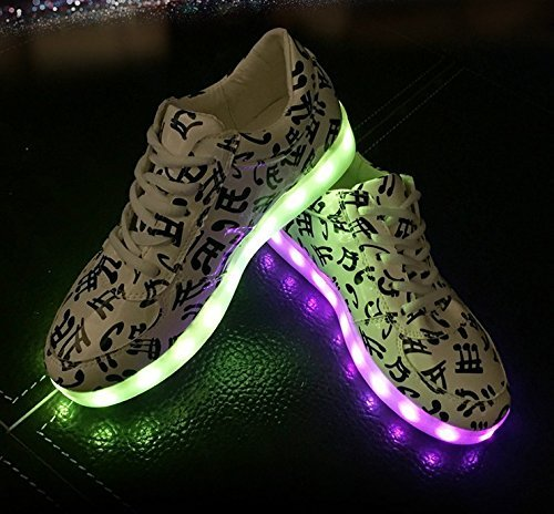Shihualine (tm) Note Led Luminous Mujer Sneakers Usb Light Ocio Calzado Casual Us 9.5