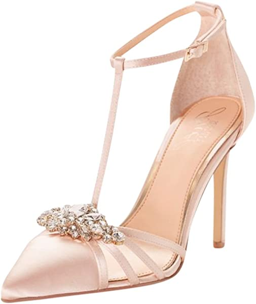 ab1fa4365995 David s Bridal Pointed Satin T-Strap Heels with Crystal Ornament Style  JWCABO ...