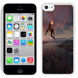 NEW Unique Custom Designed iPhone 5C Phone Case With Infamous Second Son Smoke Ability City View_White Phone Case