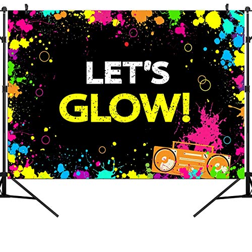 OUYIDA 5X3FT Glow Neon Party Backdrop Let's Glow Splatter Photography Background Vinyl Glowing Party Backdrops Banner Decoration Neon Party Supplies PCK20