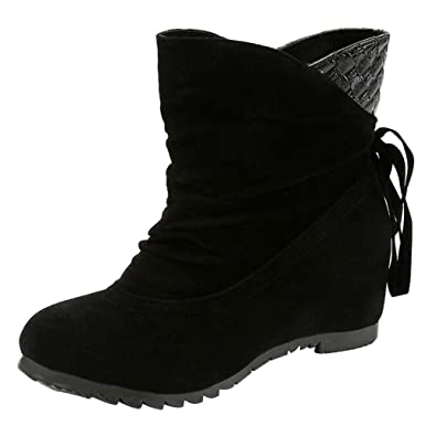 bdf238f5165 DAYSEVENTH Ladies Boots Flat Low Flock Slip-On Wedges Ankle Boots Casual  Shoes Martin Boots