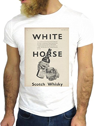 T SHIRT JODE Z3447 WILD HORSE LOGO FUN NICE USA AMERICA WHISKEY GIN RUM VODKA GGG24 BIANCA - WHITE XL