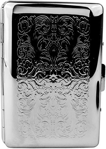 (Slim Business/Credit Card Holder with Separation Tabs in Silver Vintage Victorian)
