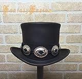 Rocker Black Leather Slash Style Top Hat Conchos Hatband Replica Fans HIGH Top Hat