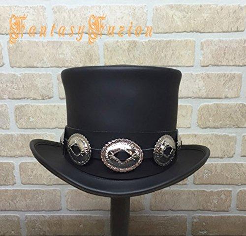 Rocker Black Leather Slash Style Top Hat Conchos Hatband Replica Fans HIGH Top Hat by FantasyFuzion