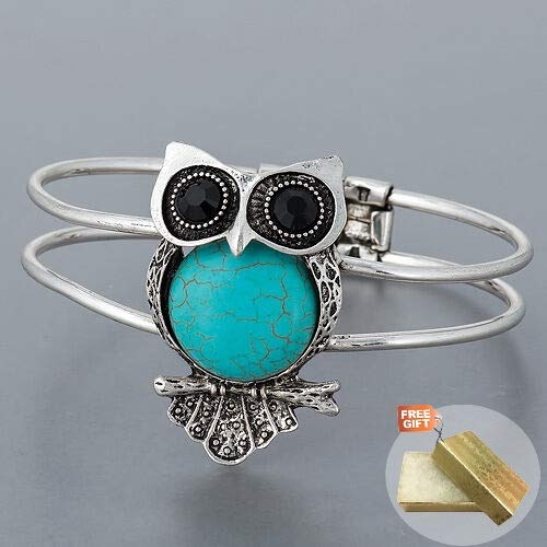 Silver Vintage Antique Owl Design Turquoise Statement Fold Over Fashion Jewelry Bracelet For Women + Gold Cotton Filled Gift Box for Free