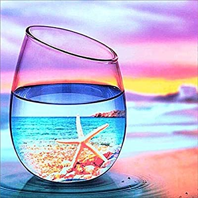 "Smartcoco Wine Glass Beach Sunset 5D DIY Full Diamond Painting Wall Sticker 3D Diamond Mosaic Cross Stitch Embroidery Wall Craft Decor, 11.8"" x 11.8"": Home & Kitchen"
