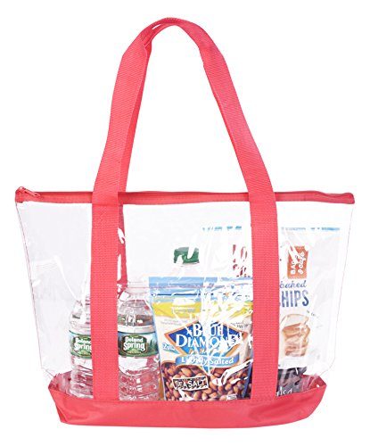 Bags for Less Large Clear Vinyl Tote Bags Shoulder Handbag (Red)
