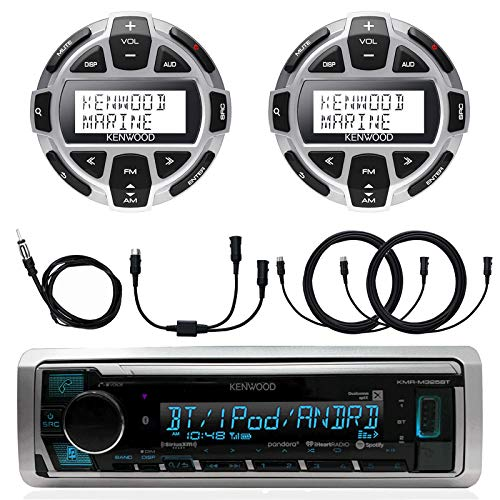 Kenwood Marine Boat Yacht Digital Media USB AUX Bluetooth Stereo Receiver (No CD), 2X Digital LCD Display Wired Remote, 40