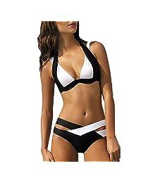 Los mejores regalos para las mujeres! Hennta Bikinii Bikinii con traje de baño de mujer Bañado en la playa Vestido de baño con vendaje estampado (Negro) Playa