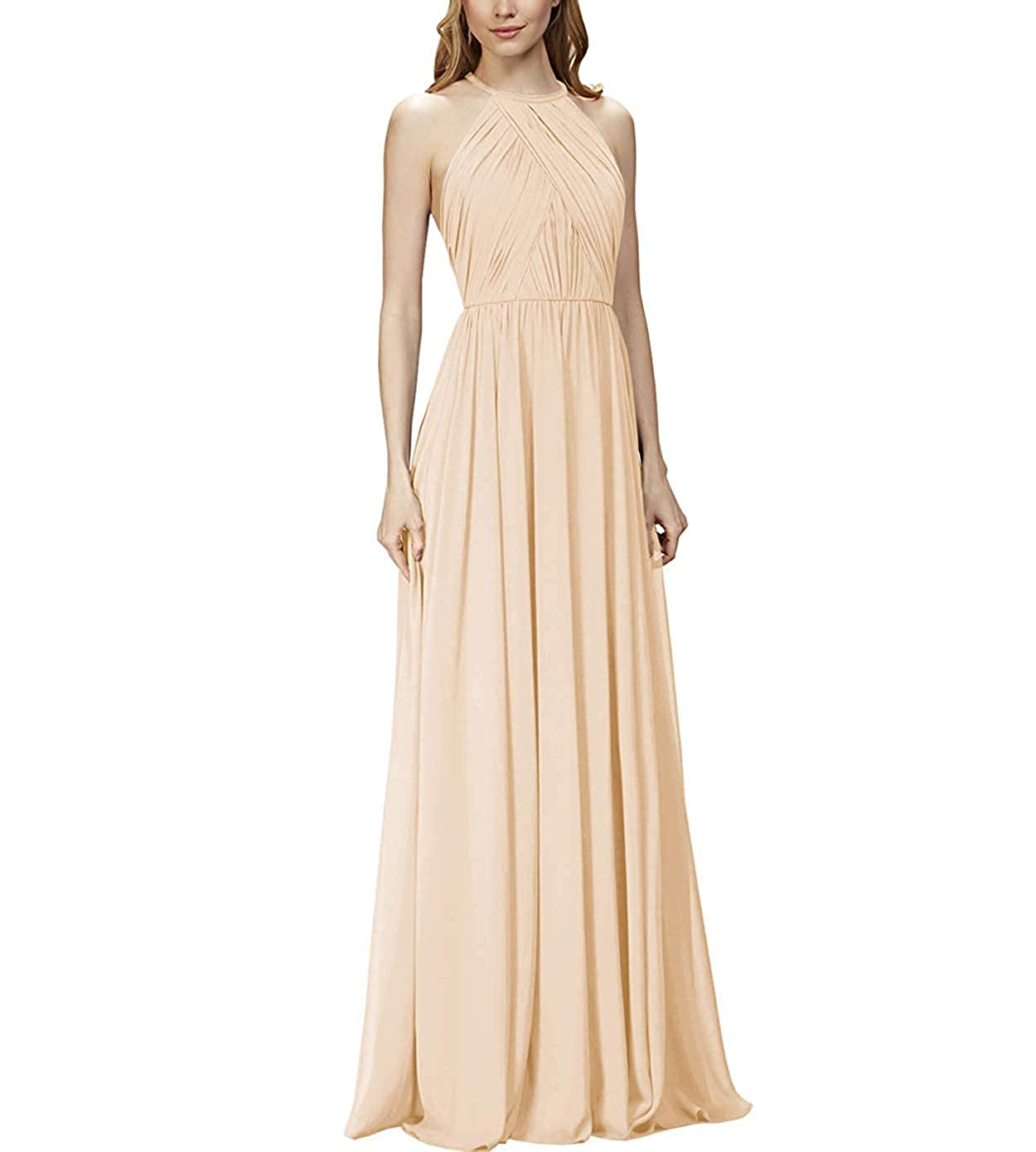 Champagne NewFex Halter Long Bridesmaid Dresses 2019 Aline Ruffled Formal Women's Evening Gown