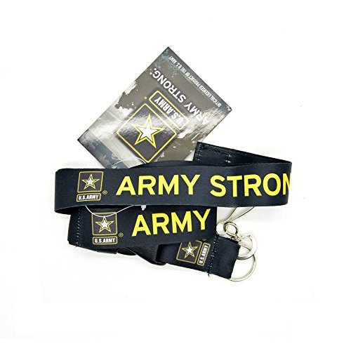 """1 X Official Licensed Products Military Black """"US ARMY STRONG"""" Lanyards"""