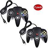 2 Pack USB Controller for Classic Nintendo 64, USB N64 Controller Console System controller Game Gaming Gamepad for Windows PC MAC Linux Android Raspberry Pi (2 Black)