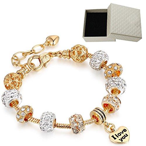 LSENG Bracelets Gold Plated Snake Chain Bracelets Pendant I Love You Glass Crystal Beads Charms Bracelets for Women with Fine Gift Box ()