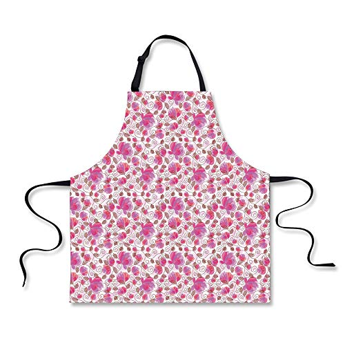 Cooking Apron,Floral,Botanical Watercolor Plants with Swirle