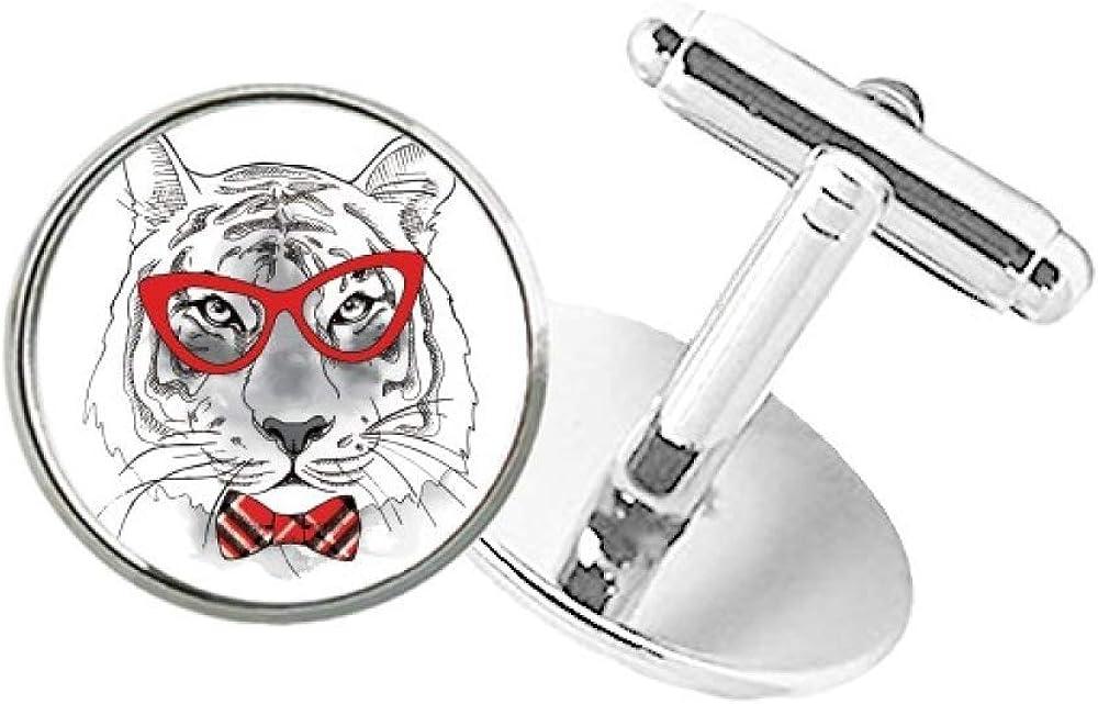 DIYthinker Glasses Tiger Handsome Animal Round Button Cuff Clip Stud Cufflinks