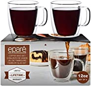 12 oz Glass Coffee Mugs - Set of 2 - Double Wall Clear Glasses - Insulated Glassware With Handle - Large Espre
