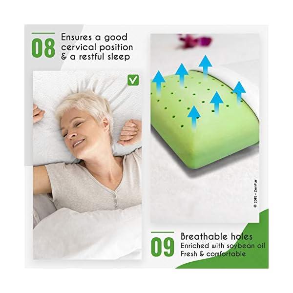 ZenPur Oreiller Memoire Forme Cervicales Douloureuses Fabriqué en Europe – Certification Oeko TEX – Oreiller Anti…