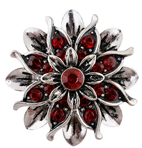 - Rockin Angels Large Red Silver Flower 22mm Snap Charm Button Jewelry Ginger Snaps
