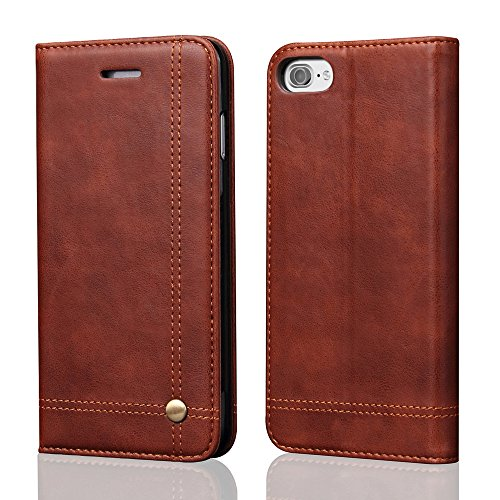 iPhone 8 Case, iPhone 7 Wallet Case, [Magnetic Closure] PU Leather Flip Vintage Durable Protective Cover Kickstand Cash/Card Slot Slim Folio Case for iPhone 7/8 4.7 inch - Dark Brown