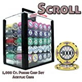 1000 count poker chips - Brybelly 1,000 Ct Scroll Poker Set - 10g Casino Grade Ceramic Chips with Acrylic Display Case for Casino Games