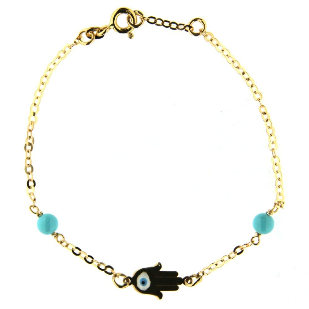 18K Yellow Gold enamel Hamsa and turquoise paste beads bracelet 6.50 inches with extra ring at 6 inch