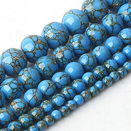 NOLOGO Gxbld-yy Línea Dorada Piedra Natural al por Mayor Shell Azul talló los Granos Flojos Redondos Turquesas for Hacer la joyería de Bricolaje Accesorios de la Pulsera