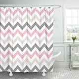 Hot Pink and Brown Shower Curtain Emvency Shower Curtain Pink Grey Chevron Zigzag Pattern Beige Abstract Beautiful Beauty Waterproof Polyester Fabric 72 x 72 Inches Set with Hooks