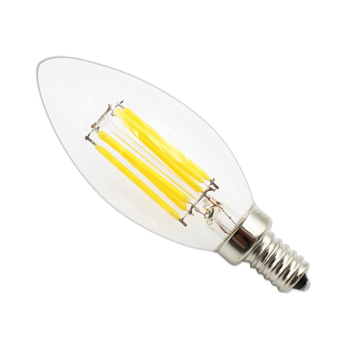 LEDIARY 6W Dimmable LED Filament Candle Light Bulbs 2700K Warm White 60W Incandescent Replacement E12 Candelabra Base B11 Torpedo Shape Bullet Top,Pack of 5