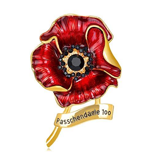 British Kate Princess memorial diamond brooch fashion drip diamond poppy saffron brooch new Run,AL136-B ()