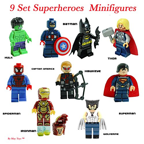 Super Heroes Figures, 9 Set Super Heroes Marvel & DC Avengers Mini Figures include Batman, Spiderman, Ironman, Thor, Superman, Wolverine, Captain America, Hawkeye, and The Hulk. Mini Figures - Men With Small Eyes