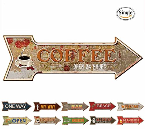 Cafe Wall Decor (HANTAJANSS Coffee Signs with Open 24 Hours Metal Signs for Cafe Wall Decoration)