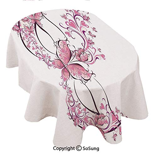 (SoSung Masquerade Oval Polyester Tablecloth,Masks Carnival Dress Centuries Old Tradition of Venice Theme Design Print,Dining Room Kitchen Rectangular Table Cover, 54 x 72 inches,Pink and White)