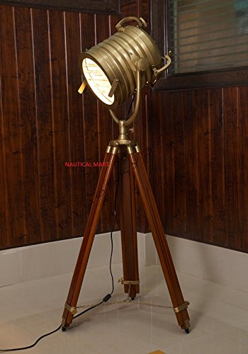 INDUSTRIAL VINTAGE NAUTICAL SEARCHLIGHT ADJUSTABLE TRIPOD FLOOR LAMP BRASS PATINA FINISH INDUSTRIAL NAUTICAL FLOOR (Patina Finish Floor Lamps)