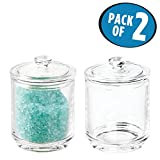 mDesign Bathroom Vanity Storage Organizer Canister Jars for Q tips, Cotton Swabs, Rounds, Balls, Makeup Sponges, Bath Salts - Pack of 2, Glass, Clear