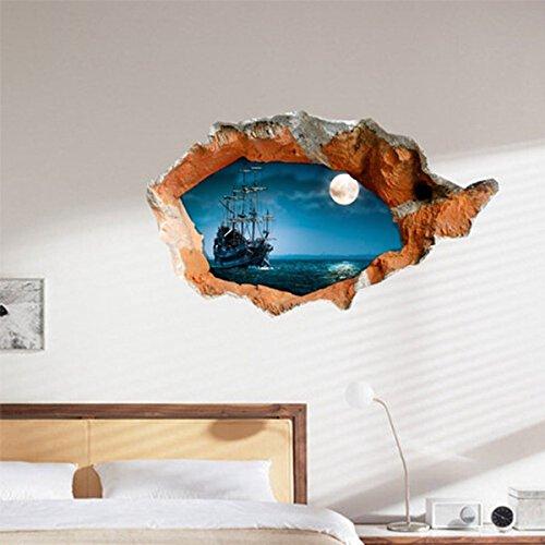 Aliciashouse 3D Nacht Boot Wandtattoo Wand Loch Wanddekoration Aufkleber 38 Zoll abnehmbare Inneneinrichtungen