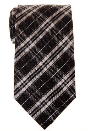 Retreez Stylish Plaid Checkered Woven Microfiber Men's Tie - Black and ()
