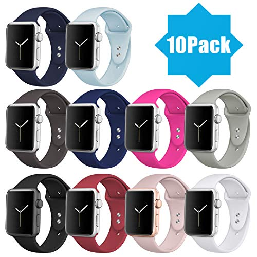 DaQin Bands Compatible with Apple Watch Band 42mm 44mm, 10 Pack Soft Silicone Sport Replacement Wristbands Strap for iWatch Series 4, Series 3/2/1, 42M/L