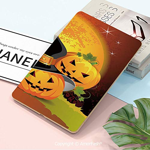 Galaxy Tab A 10.5 T590 T595 Shockproof Case,[Anti-Scratch] [No-Bubble] [Case-Friendly],Halloween,Witches Hat Spooky Pumpkins Magical Night Autumn Nature Full Moon,Light Orange Green Black]()