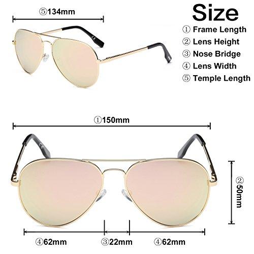 espejo Rosa aviador lentes doble puente de amztm Metal de marco Gafas polarizadas sol revo nIOYq7Y