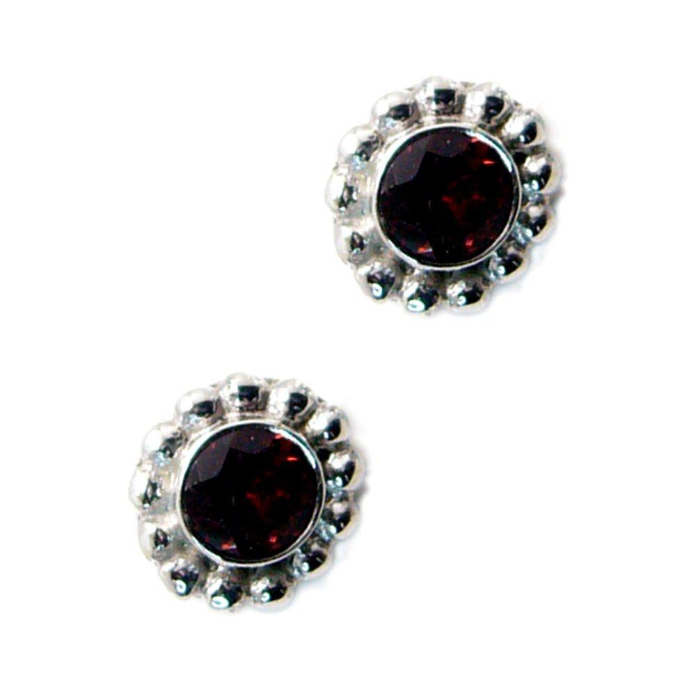 Real Garnet Earrings For Women Gift Sterling Silver Stud Bezel Style Jewelry January Birthstone Handmade