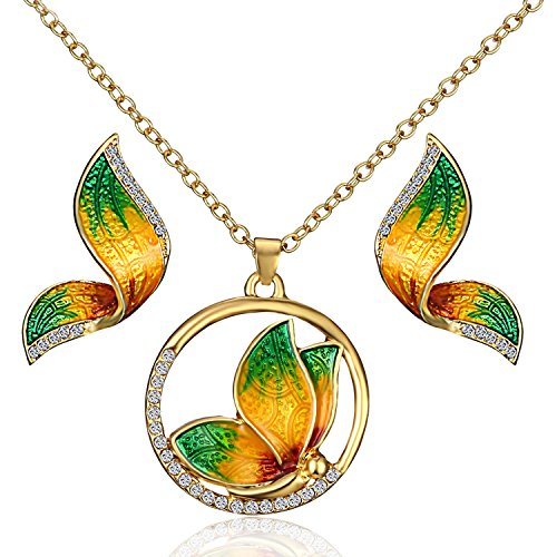 VEINTI+1 New Arrival Charm Dazzle Color Elegant Butterfly Design Necklace and Earrings Jewelry Set (Green)