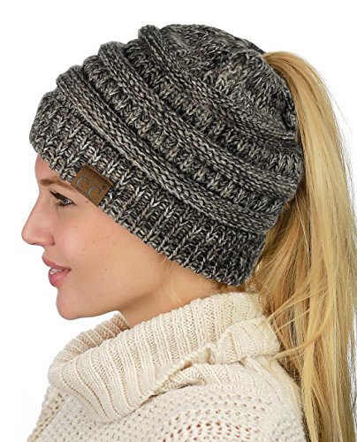 C.C BeanieTail Soft Stretch Cable Knit Messy High Bun Ponytail Beanie Hat, Brown Mix