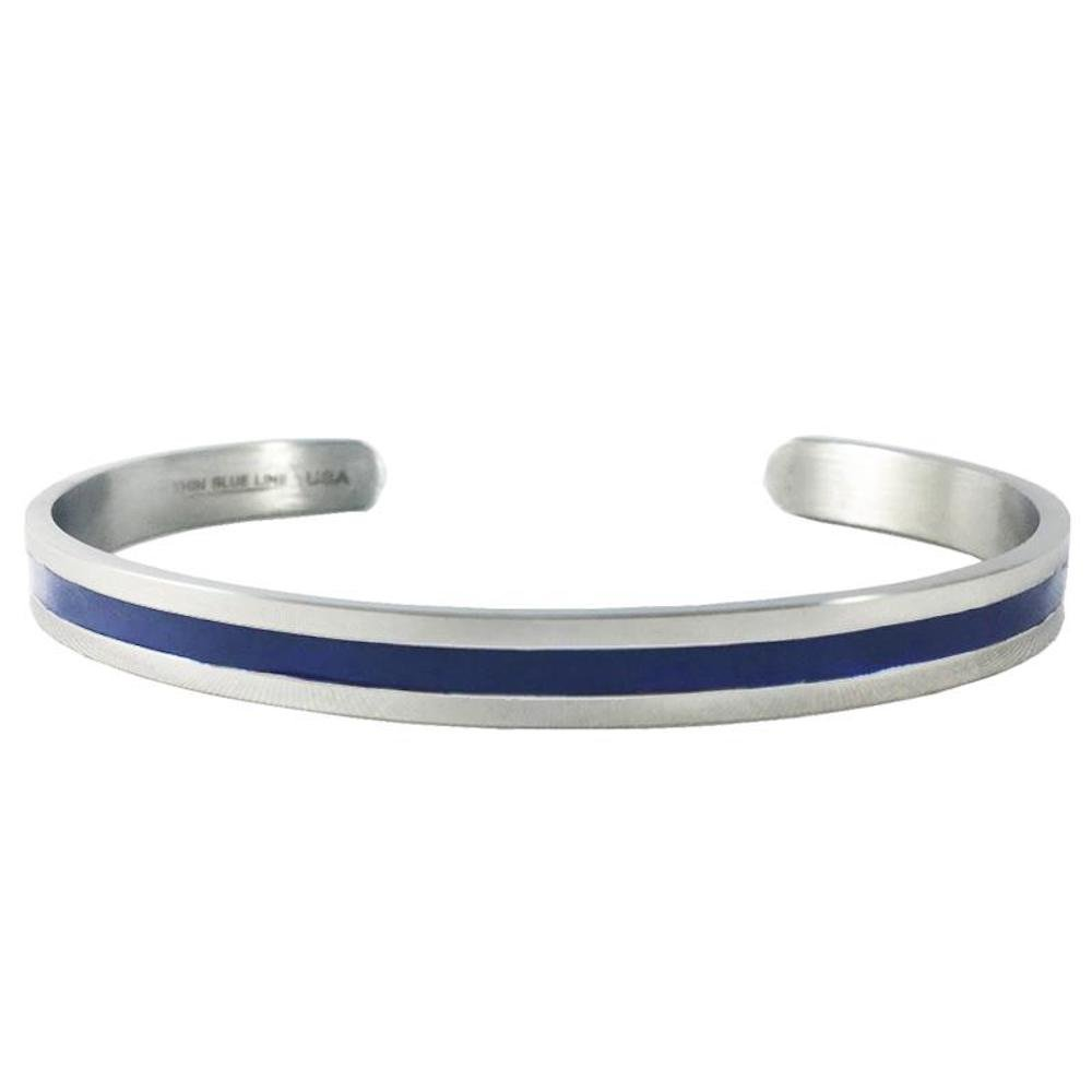 Thin Blue Line Bangle - (7.0 Inches)