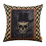 LINKWELL 18x18 inches Happy Halloween Scary Skull with Hat Burlap Throw Cushion Cover Pillowcase CC1191