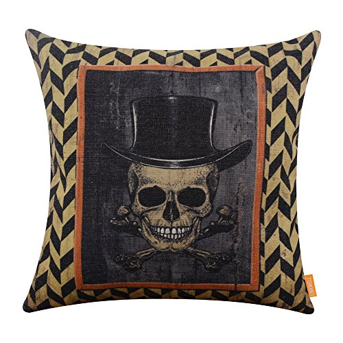 LINKWELL 18x18 inches Happy Halloween Scary Skull with Hat Burlap Throw Cushion Cover Pillowcase CC1191 ()